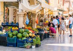 corfu old town market