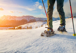 Walk with snowshoes in alps