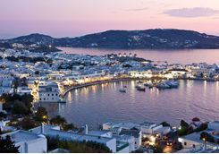 Mykonos harbour in the evening