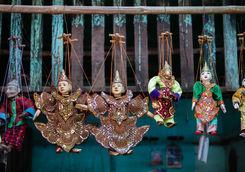 Burmese puppets in a market