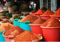 Tubs of spices in Myanmar market