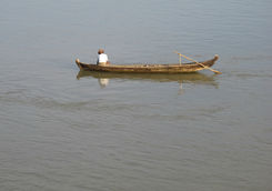 Small river boat on the Chindwin river