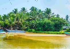 Boat in a river in Galle, Sri Lanka