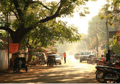 Street in the morning sunrise of Siem Reap