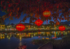 Lanterns and colourful lights on river