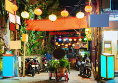Motorcycles and street of old city of Hoi An