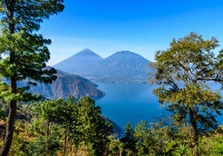 View of Lake Atitlan and volcanoes