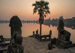 sra srang terrace in angkor wat temple complex at sunrise