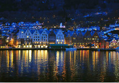 Night view of Bergen city