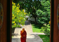 view of a monk through door