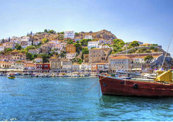 Greek island Hydra, view from the sea
