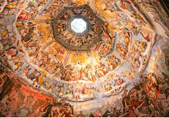 close up of brunelleschi's dome in the florence cathedral
