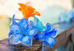 traditional flowers glass decorations