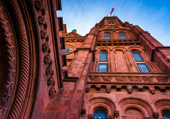 Looking up at the Smithsonian castle
