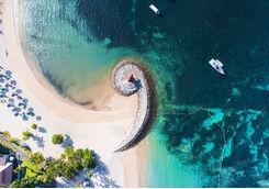 sanur beach aerial