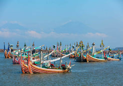 traditional wooden houses fishing boat