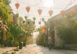 Woman walking on the morning in Hoi An