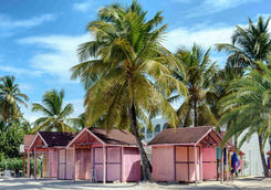 Pink beach huts in Antigua