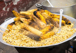 Grilled corn at a market