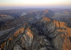 aerial photo from mountains in the namibian desert