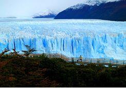 view of perito moreno glacier with the viewing balcony