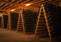 Bottles of champagne on a wine cellar