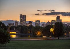 Skyline of Denver from the a city park