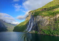 Geirangerfjord with the seven sisters waterfall