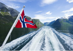 Norwegian flag on a cruise