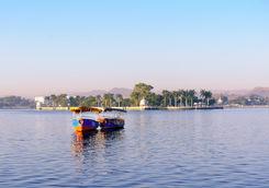 Boats on Lake Pichola