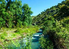 River running through mountains