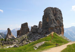 Hikers in front of Five Towers in the Dolomites