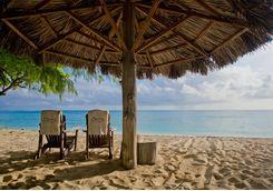 Denis Island chairs on beach
