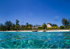 Denis Island hotel from sea