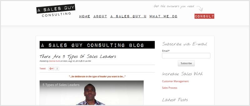 Screenshot of a Sales Guy Blog
