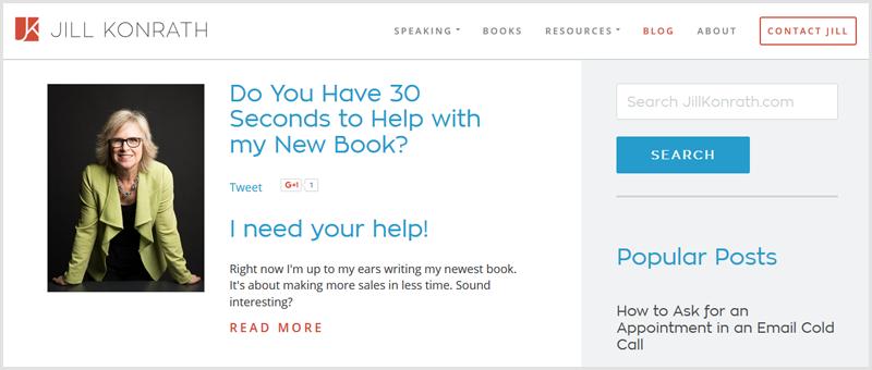 A screenshot of Jil Konrath blog homepage