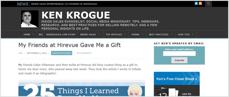 Screenshot of Ken Krogue's Sales blog