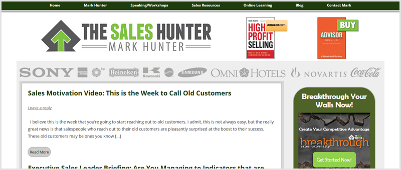 Screenshot of The Sales Hunter homepage