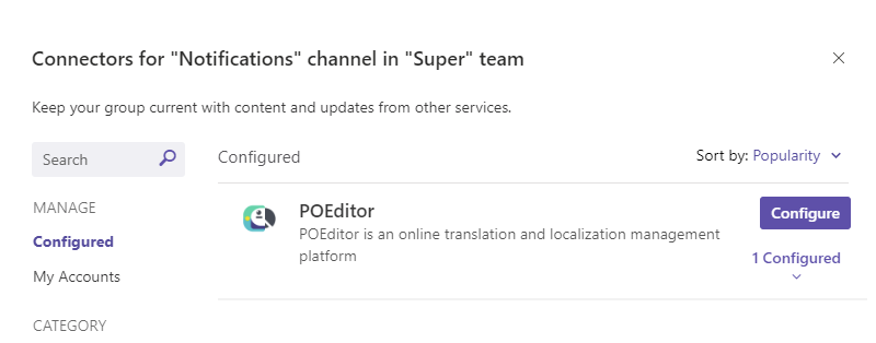 Configure POEditor app in Microsoft Teams - POEditor localization tool
