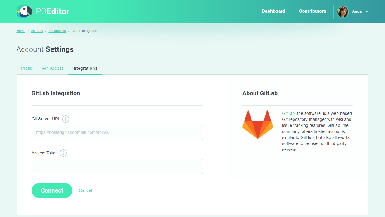 Connect to an installed version of GitLab