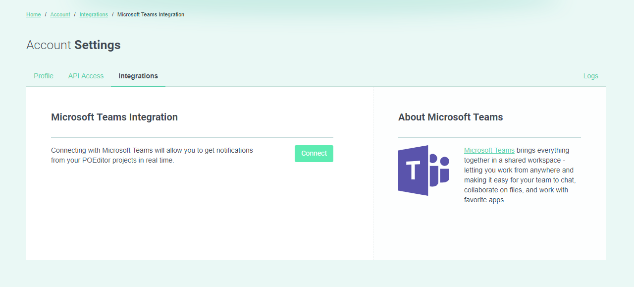 Connect Microsoft Teams (Integrations page) - POEditor translation platform