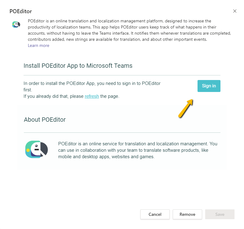 Remove POEditor app from Teams channel - POEditor translation management service