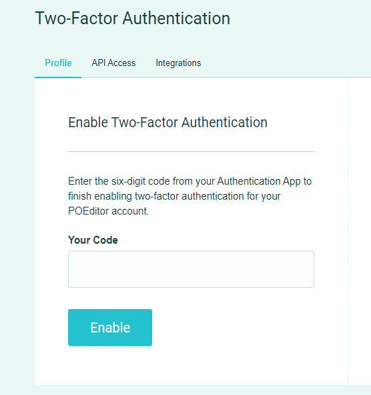 Enable 2FA - POEditor translation management software