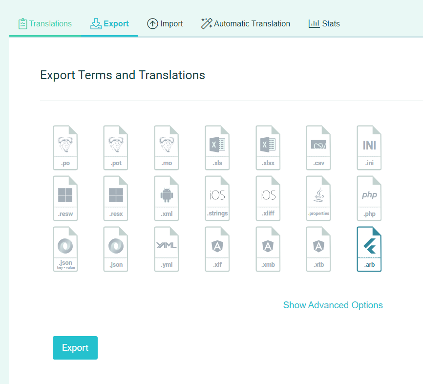 Download translations to file - POEditor translation platform