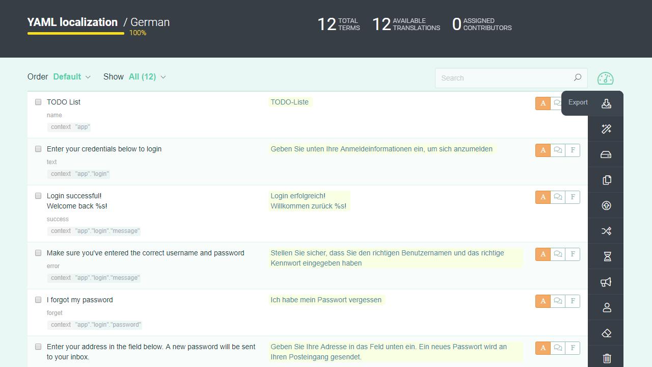 Export localize YAML - POEditor translation management system
