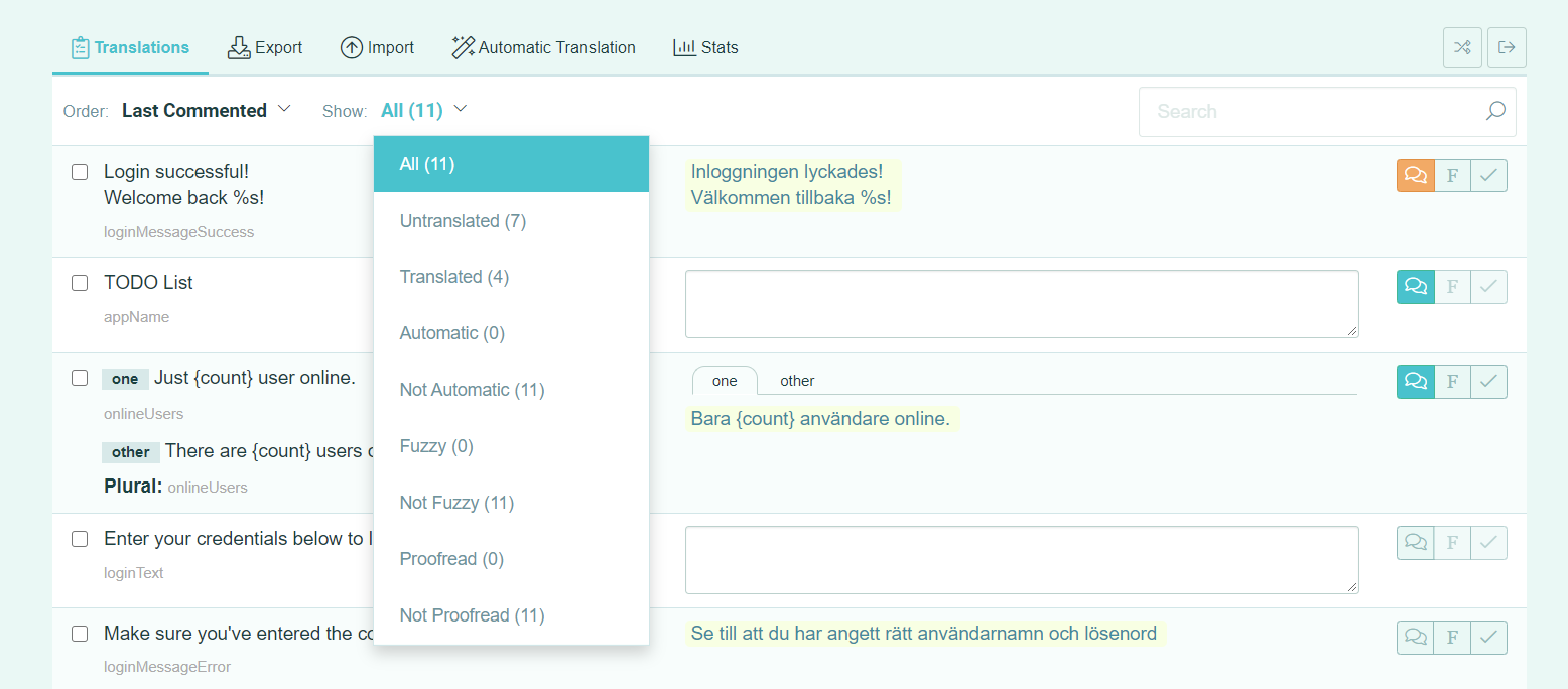 How to filter strings in a translation page - POEditor localization platform