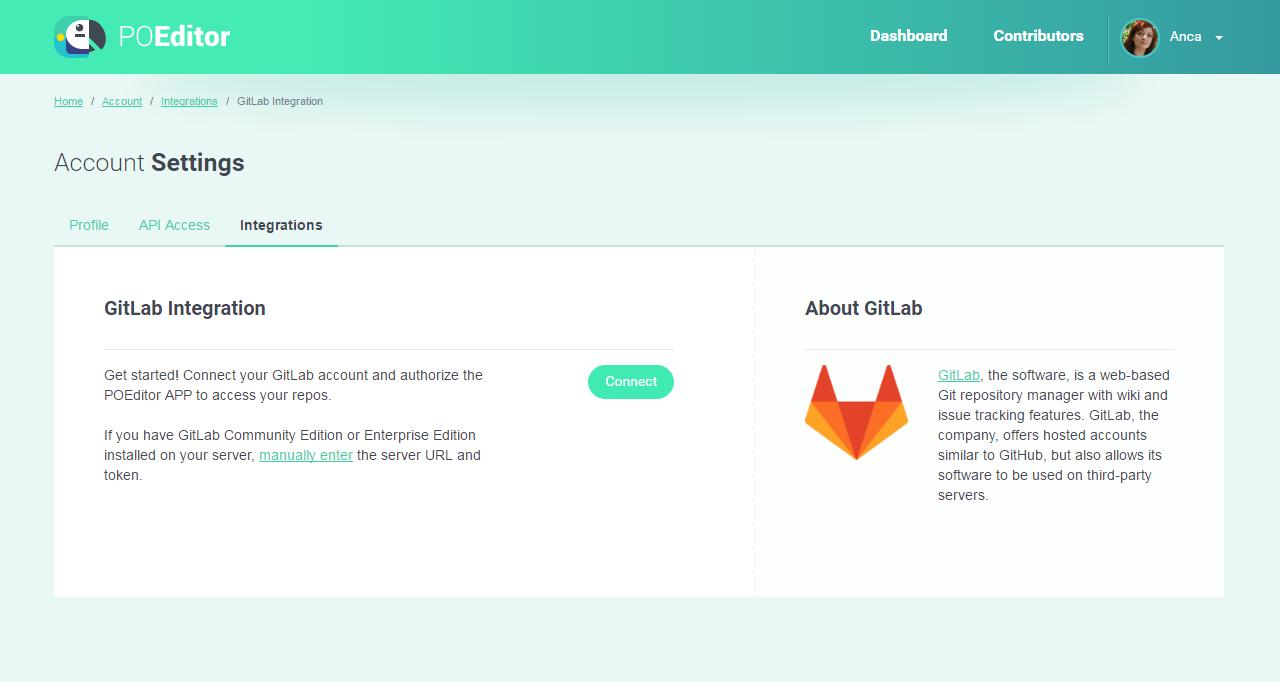 GitLab Integration Page