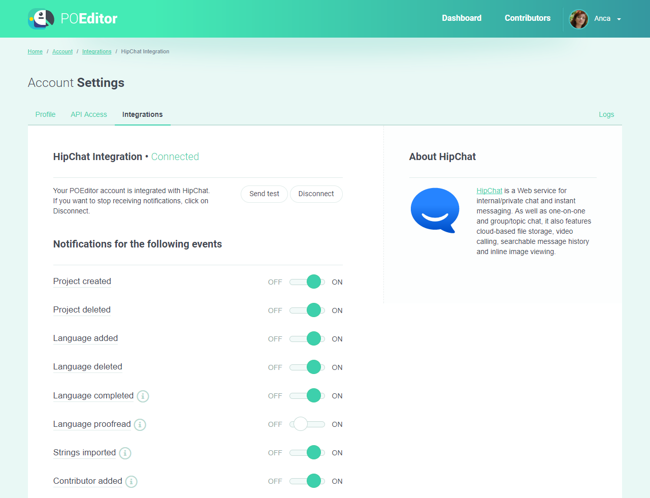 HipChat Integration Page - POEditor localization tool