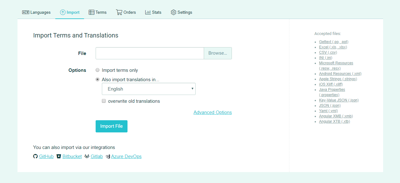 Import terms and translations (Import terms page) - POEditor Localization Tool