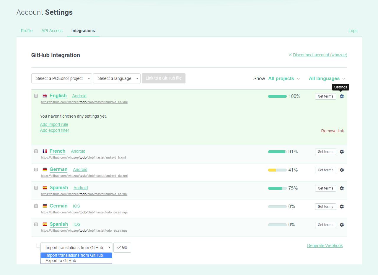 Code hosting integration options - POEditor localization management platform